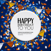 Vector birthday card with confetti and bunting flags. — Vector de stock