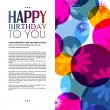 Vector birthday card with flowers on colorful background. — Stock Vector