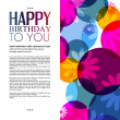 Vector birthday card with flowers on colorful background. — Stock Vector #51686949