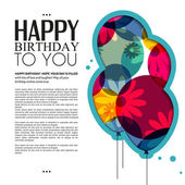 Vector birthday card with color balloons, flowers and text. — Vetorial Stock