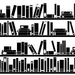 Books on shelves — Stock Vector #34681049