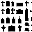 Gravestones and crosses — Stock Vector
