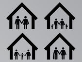 Family with houses — Stock Vector