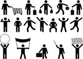 Human pictograms with different objects and activity — Vettoriale Stock