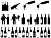 Persone con bottiglie di vino — Vettoriale Stock