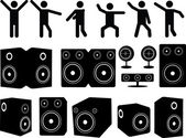 Speakers and people dancing — Stock Vector