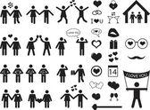 Pictograma de personas para el día de san valentín — Vector de stock