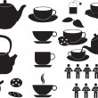 图库矢量图片: Tea cups and objects