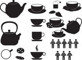 Tea cups and objects — Vector de stock