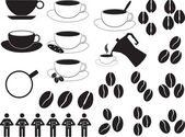 Coffee cups and coffee beans — Stock Vector