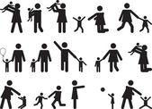 Pessoas de pictograma com crianças — Vetor de Stock