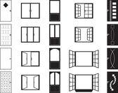 Door and window silhouettes — Wektor stockowy