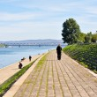 Promenade along Danube in Belgrade — Stock Photo