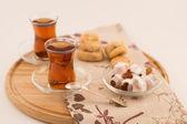 Turkish tea with turkish delights — Stock Photo