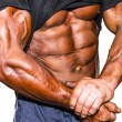 Close up on perfect abs. Strong bodybuilder with six pack. — Stock Photo