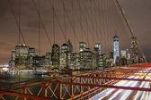 New York city night skyline from Brooklyn bridge — Stock Photo