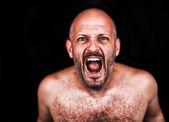 Szalony człowiek krzyczący — Zdjęcie stockowe