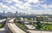 Miami downtown skyline and freeways — Stock Photo