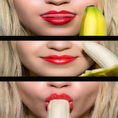 Girls eats big banana — Stock Photo