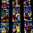 Stained glass window inside Duomo cathedral,Milan — Stock Photo #40457227