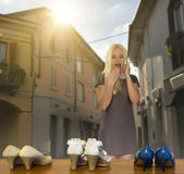 Girl wants to buy new shoes — Stok fotoğraf