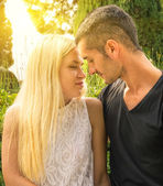 Couple in love at the park — Stock Photo
