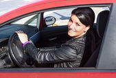 Woman drive her car — Stock Photo