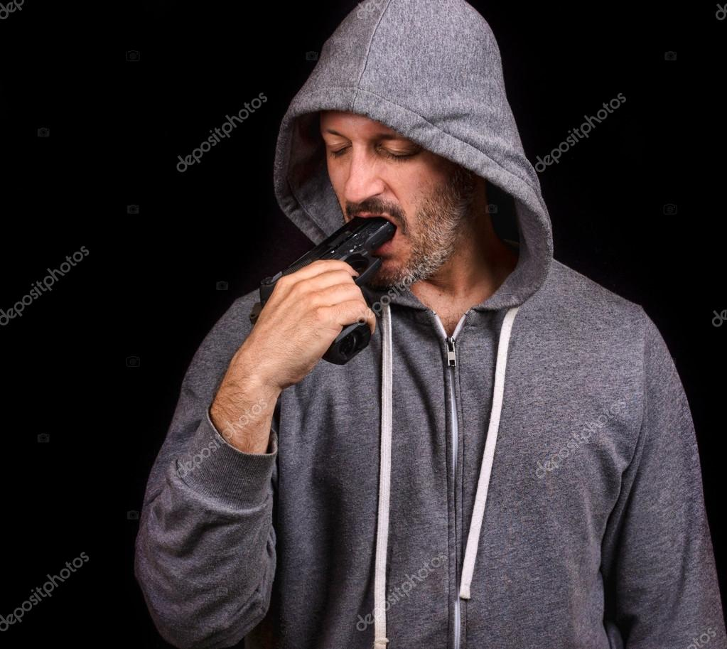 Man With Gun In Mouth 74