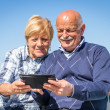 Old couple with tablet — Stock Photo #46297493