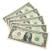 Randomly scattered banknotes in denominations of one dollar — Stock Photo