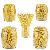 Pasta in a transparent jar — Stok fotoğraf
