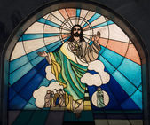 Christ in a stained glass window — Stok fotoğraf