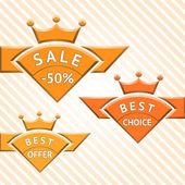 Set of badges: sale, best choice, best offer — Stock Vector