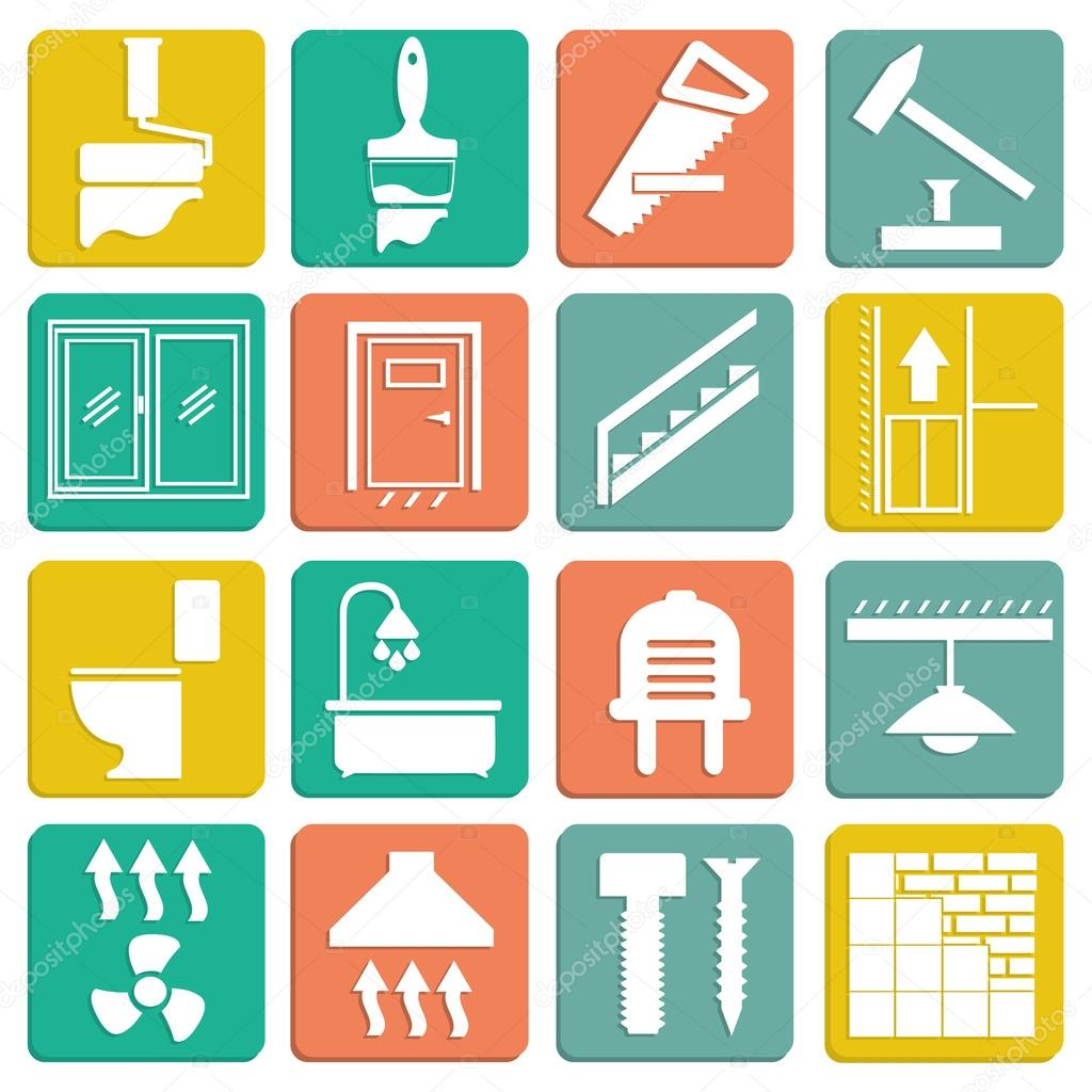 Набор ремонта плоских иконы ...: ru.depositphotos.com/34958415/stock-illustration-set-of-flat-icons...