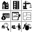 Set icon of real estate — Imagen vectorial