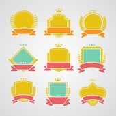 Set of flat badges and ribbons — Stockvektor