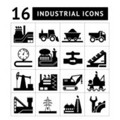 Industrial black icons set — Stock Vector