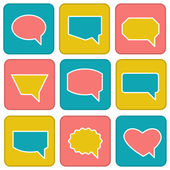 Color speech bubbles in flat style . Icons set — Stock Vector