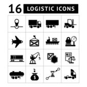 Set of black logistic icons — Stock Vector