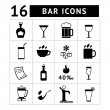 Stock Vector: Set of bar, drinks and beverages icons