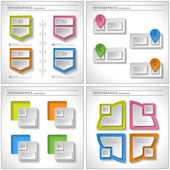 Set of 4 in 1: Business infographics elements. Modern design template. Abstract web or graphic layout — Stock Vector