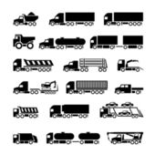 Trucks, trailers and vehicles icons set — Stok Vektör