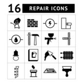 Set of construction, building, and house repair icons — Stock Vector