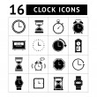 Stock Vector: Set of time and clock