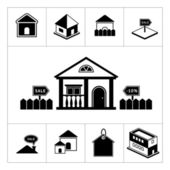Set of house icons. Real estate and building collection — Stock Vector