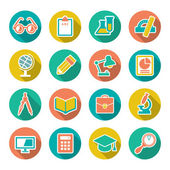 Set flat icons of school and education with long shadow — Stock Vector