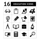 Set black icons of school and education — Stock Vector