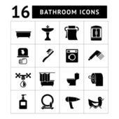Set icons of bathroom and toilet — Stock Vector