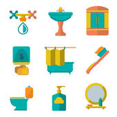 Set flat icons of bathroom and toilet — Stock Vector