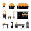 Set icons of retro furniture and home accessories — Stock Vector